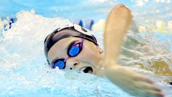 Brookfield Central's Gwen Gustafson swims the 100-yard freestyle during a dual meet at home against Brookfield East on Oct. 3.