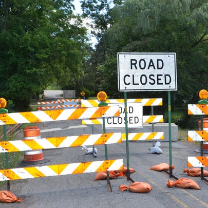 A section of D Drive North is closed after a culvert