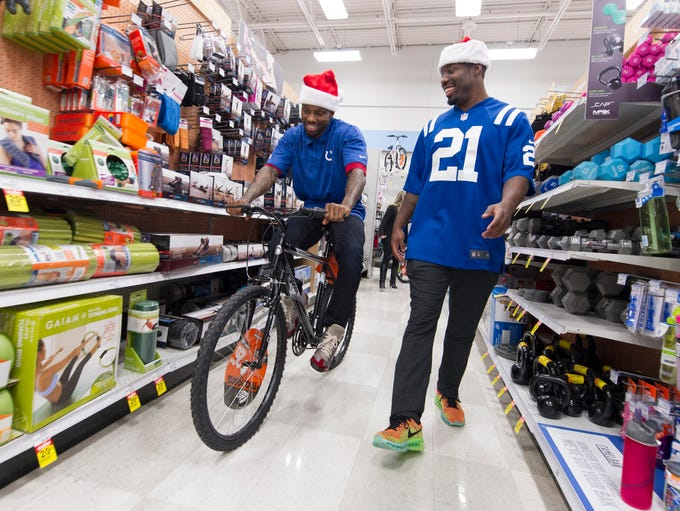 Indianapolis Colt Greg Toler takes a spin a bicycle
