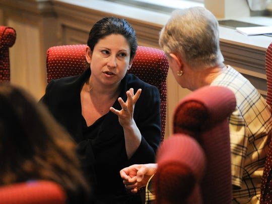 State Rep. Melanie George Smith, D-Bear, with the Joint Finance Committee works on the proposed grant aid budget on June 30. Delaware first elected a woman to the Statehouse in 1924.