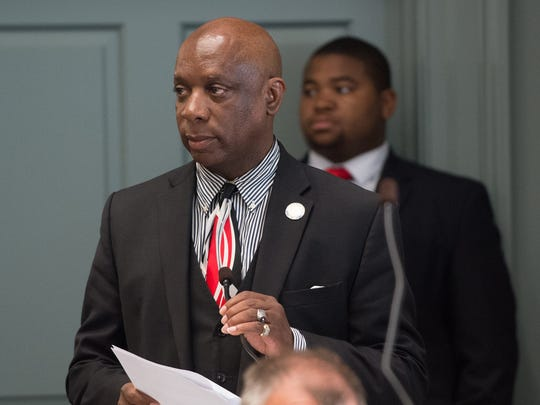 State Rep. Charles Potter Jr., D-Wilmington North, appears during a session at Legislative Hall in Dover Wednesday.  Lawmakers passed legislation endorsing a school redistricting plan for Wilmington.