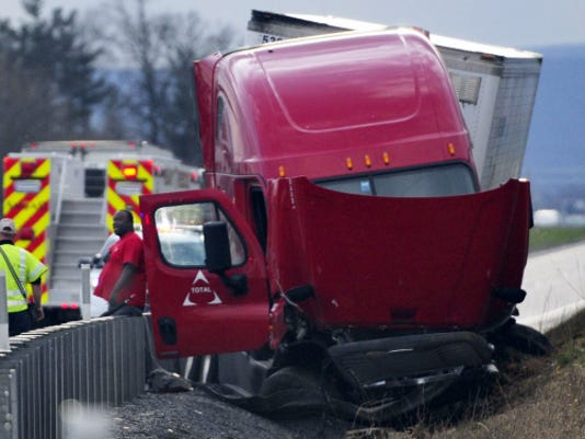 The Northbound driver lost control of a tractor-trailer, crossed the median and crashed into a guardrail in the southbound lane of Interstate 81 around 5:45pm , Monday, April 6, 2015. Backups and lane restrictions will remain in the area while a wrecker clears the crash scene. Markell DeLoatch - Public Opinion