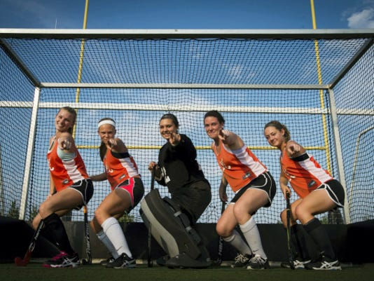 They don't always get the glory, but the Palmyra Cougar field hockey defensive unit of, from left, Kylie Bomgardner, Katelyn Mark, goalie Cheyenne Sprecher, Carli Herman and Kristen Robinson is as good as any in the state.