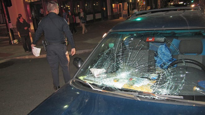 2011: A pedestrain was struck while trying to cross the intersection of Main and Church streets. According to the driver, the pedestrian walked into the middle of road right in front of his car as he was driving through a green light at about 15 mph.