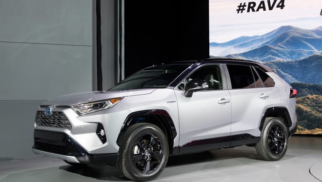 The hybrid version of Toyota's next RAV4 sports a black roof.