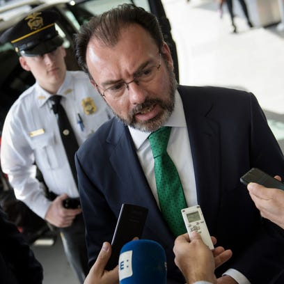 Mexican Foregn Minister Luis Videgaray Caso speaks
