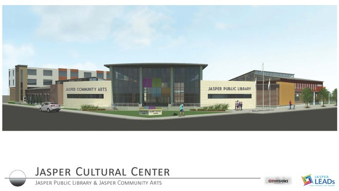 The Jasper Cultural Center is a shared new space that will house Jasper Community Arts and the Jasper Public Library.