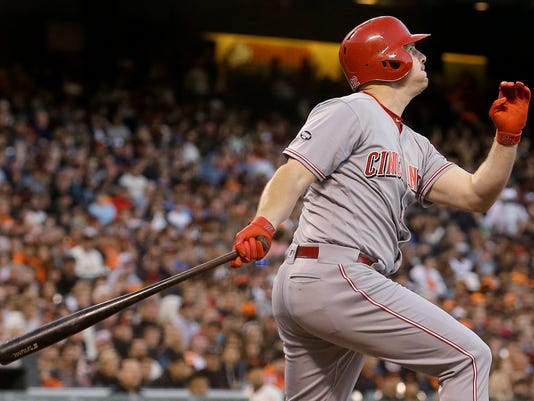 Cincinnati Reds' Jay Bruce hits a two-run home run against the San Francisco Giants during the fourth inning of a baseball game in San Francisco, Monday, July 25, 2016. (AP Photo/Jeff Chiu)