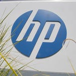Hewlett-Packard Co. logo outside the company's headquarters in Palo Alto, Calif.