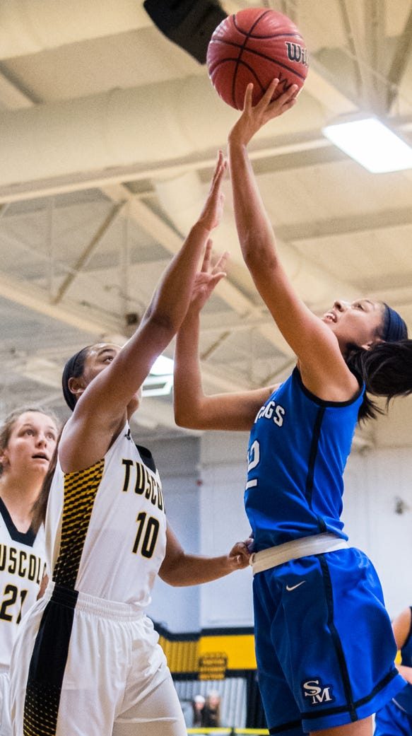 Smoky Mountain's Shay Tisho jumps up for a shot guarded