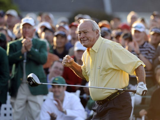 Arnold Palmer, shown at the Masters after hitting a tee shot in 2009, was beloved for his golfing talent, but more loved for the type of man he was.