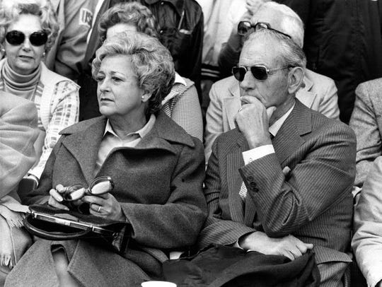Charlie Gehringer takes in a game with wife Jo at Tiger