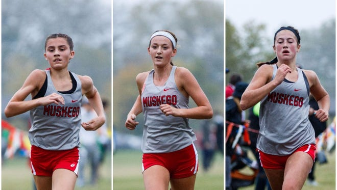 Muskego's 1-2-3 punch of (from left) Kate Sperka, Kate Jochims and Brittany Helm took the top three spots as Muskego coasted at the Classic 8 Conference meet Oct. 14.