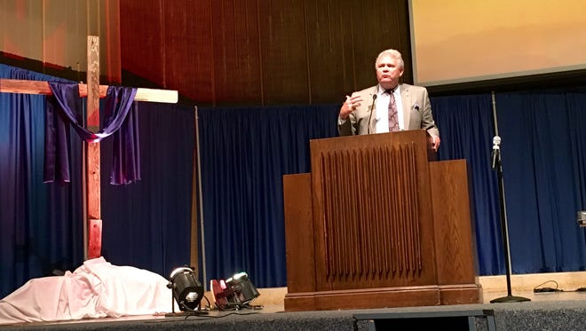 """Louisiana College President Rick Brewer addresses students, faculty, staff and trustees Monday at a prayer meeting called """"The Gathering on the Hill."""" He talks of having faith in the face of unknowns."""
