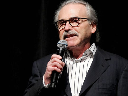 In this Jan. 31, 2014 photo, David Pecker, Chairman and CEO of American Media, addresses those attending the Shape & Men's Fitness Super Bowl Party in New York.