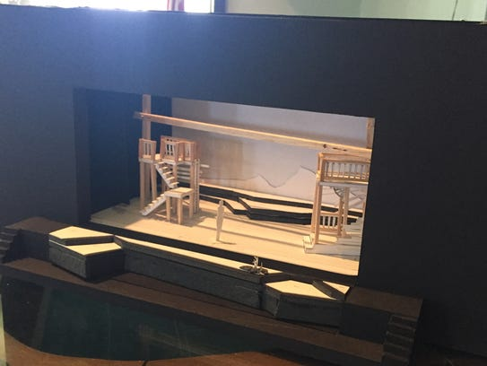 "A model of the set layout for ""No Greater Love,"" which"