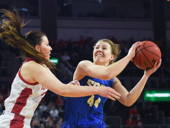 SDSU's Myah Selland takes the shot against USD Tuesday,