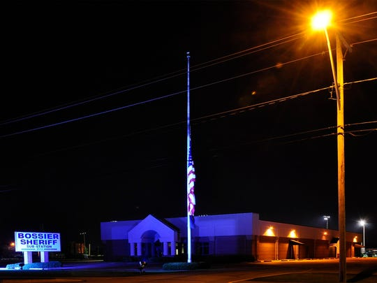 Bossier Sheriff's Viking Drive Substation is another building being illuminated in blue light.