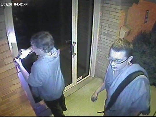 Delaware State Police say this surveillance image shows both teens or young men wanted in a Sept. 20 burglary attempt at St. Mark's United Methodist Church in Stanton.