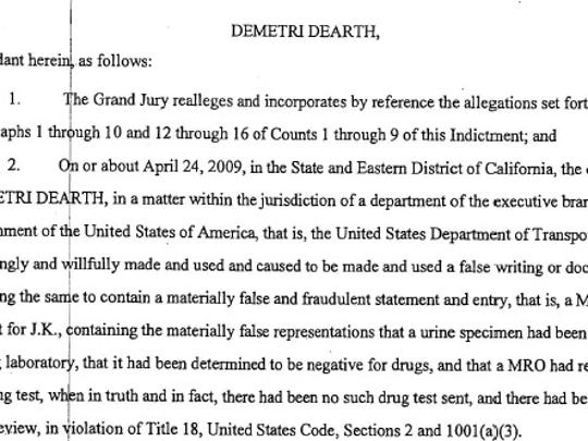 This image shows a page from the 17-page indictment