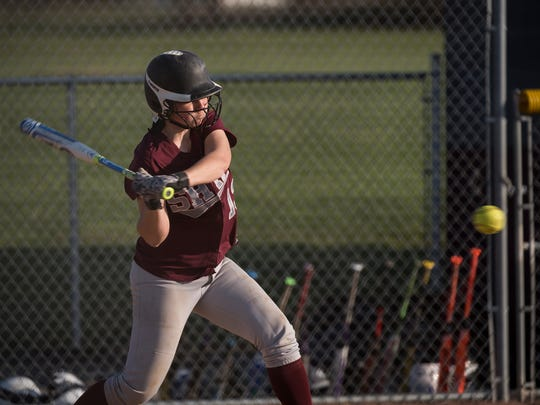 Shippensburg's Courtney Coy takes a swing during a softball game on Friday won by Cedar Cliff, 5-2. She grounded out to second base on the play.