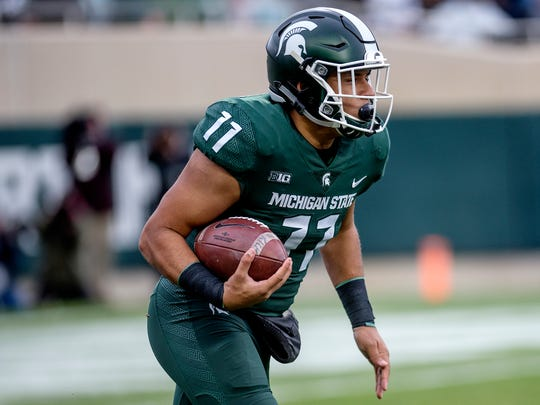 Michigan State's Connor Heyward returns a kick during