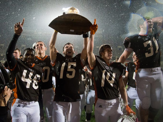 Desales celebrates their 26-0 victory over Newport