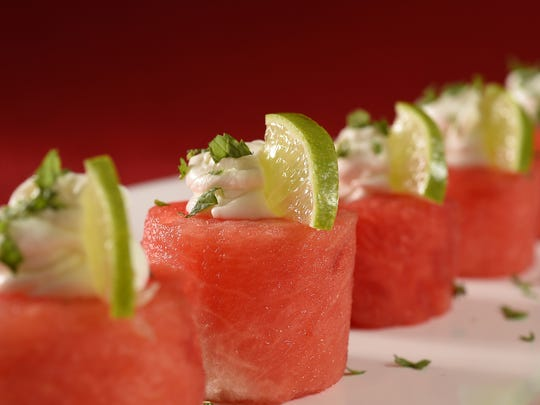 Watermelon, Goat Cheese and Mint Appetizers