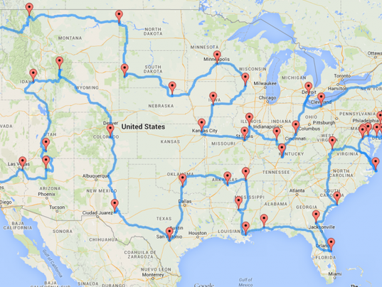 Fastest Way To Get Across US States Ask Randal Olson - The crew us map