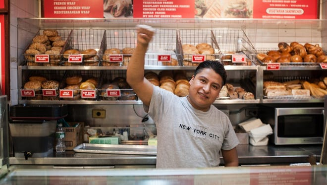 """Hot & Crusty employee Nazario G. shows his solidarity with efforts to form a union in """"The Hand That Feeds."""""""