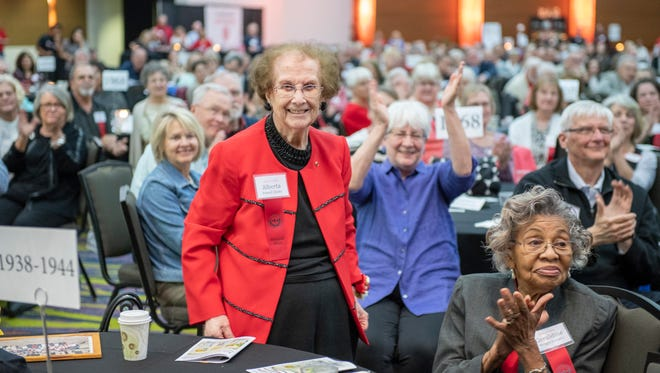 Alberta Danks, from the Class of 1938, was celebrated as the oldest alum at the East High all alumni reunion May 11 at Community Choice Credit Union Convention Center in Des Moines.