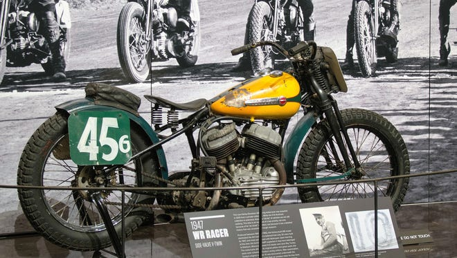 A rare 1947 WR Harley-Davidson is on display at the Harley-Davidson Museum in Milwaukee.
