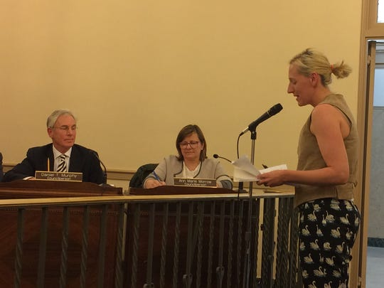 Lynn Vande Stouwe, at right, speaks about the petition to make Glen Ridge a sanctuary city during a Monday, March 27, 2017 Borough Council meeting.