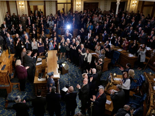 New Jersey Gov. Chris Christie delivers his final state