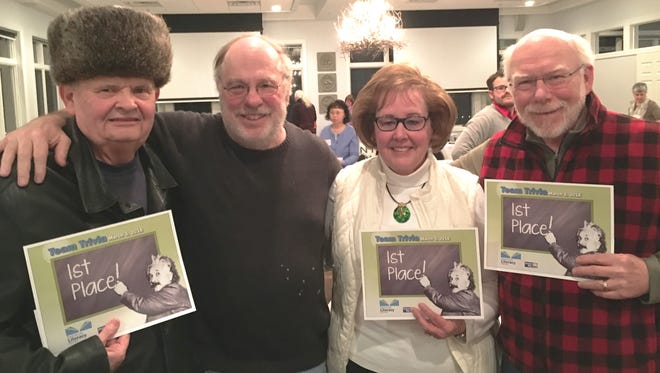 For the second year, Ledgers for Literacy came home with a first place at Team Trivia. Snagging the top finish on March 3 were members, from left, Clarence Davis, Tom Kitchen, Mary Anne Lindborg and Tom Borek.