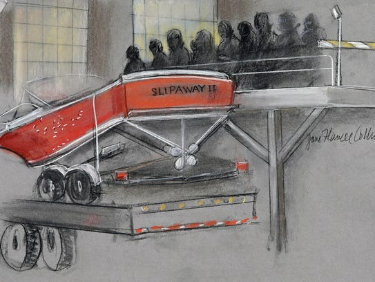 In this courtroom sketch, the boat in which Dzhokhar