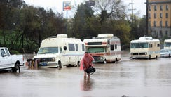 A man who lives in his RV in Salinas, Calif., walks