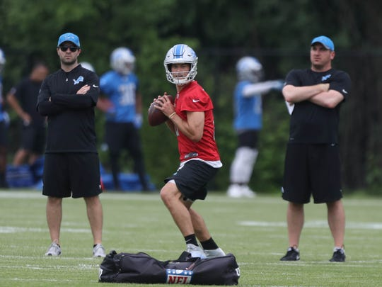Detroit Lions quarterback Matthew Stafford goes through passing drills during minicamp Wednesday, June 14, 2017 at the practice facility in Allen Park.