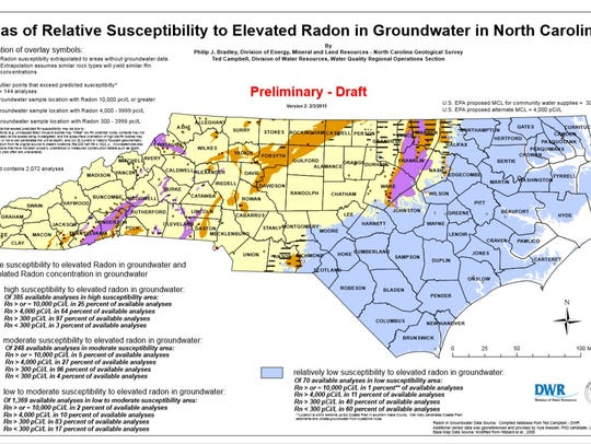 Radon naturally occurs in several areas across North