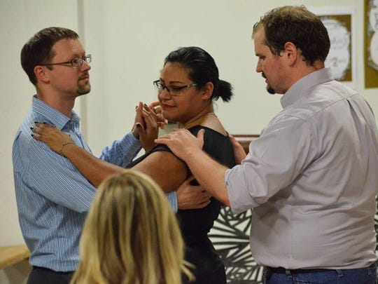 Dancers learn to tango during Cornerstone Center for the Arts' Monthly Dance Club.