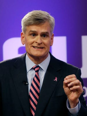 Rep. Bill Cassidy, R-La., participates in a Senate race debate with fellow candidates Sen. Mary Landrieu, D-La., and Republican candidate and Tea Party favorite Rob Maness on the LSU campus in Baton Rouge, La., Wednesday, Oct. 29, 2014. (AP Photo/Gerald Herbert)