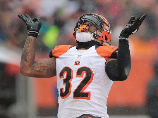 Cincinnati Bengals running back Jeremy Hill (32) celebrates his touchdown run in the first quarter during the Week 14 NFL game between the Cincinnati Bengals and the Cleveland Browns, Sunday, Dec. 11, 2016, at FirstEnergy Stadium in Cleveland.