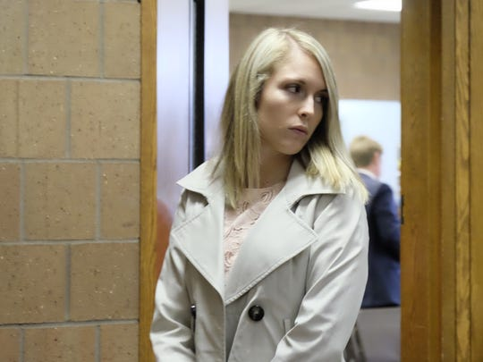 Allyson Brittany Moran walks into Judge Thomas Boyd's 55th District courtroom for a preliminary hearing on Oct. 26, 2017. She pleaded guilty Oct. 25, 2018 to third-degree criminal sexual conduct.