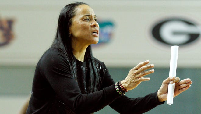 South Carolina coach Dawn Staley reacts during her team's game against Kentucky at Memorial Coliseum in Lexington, Ky. South Carolina defeated Kentucky 81-58.