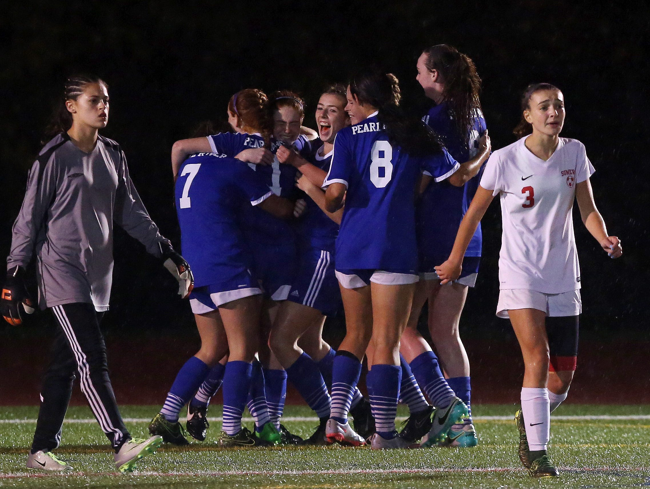 Pearl River players celebrate a second half go ahead goal by Shaelynn Guilfoyle against Somers in the girls soccer Section 1 Class AA championship game at Yorktown High School Oct. 30, 2016. Pearl River won the game 2-1.