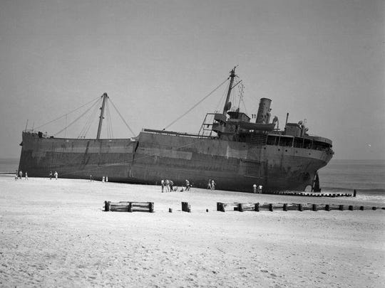 The Thomas Tracy ran aground on Rehoboth Beach during an unnamed hurricane in 1944. Winds were said to have gusted to 90-miles per hour during the storm.