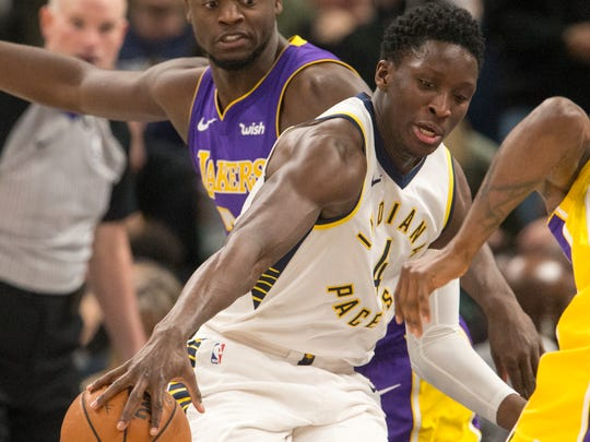 Victor Oladipo loses the handle on an Indiana ball during game action, Los Angeles Lakers at Indiana Pacers, Bankers Life Fieldhouse, Indianapolis, Monday, March 19, 2018. Indiana won 110-100.