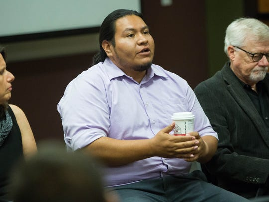 Michael Ray, director of the American Indian Program at New Mexico State University, talks about the different views on controversial statues like the Oñate statue at the El Paso Airport, during a SPACE NMSU panel discussion at the NMSU Health College Auditorium Tuesday, November 14, 2017.