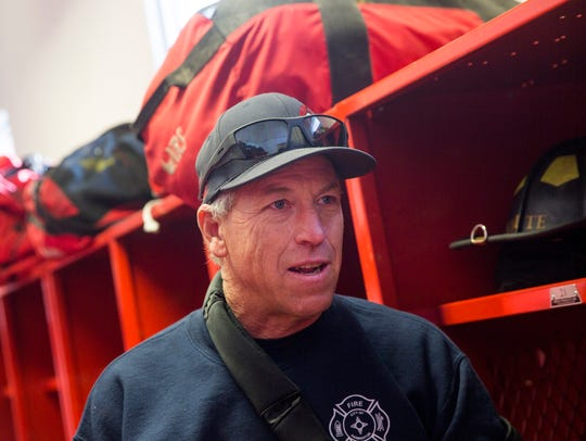Ben Thorsheim, Farmington Fire Department engineer and personal protective equipment coordinator, talks about the department's focus on safety on Thursday at Farmington Fire Department Station One in Farmington.