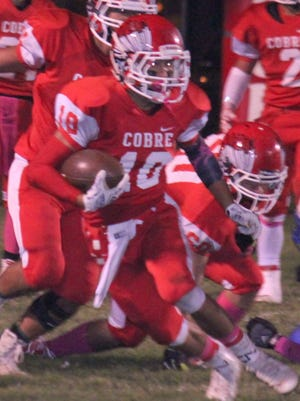 Cobre's Robert Rodriguez led the Indians in rushing and receiving Friday night. He tallied 147 yards on the ground and two touchdowns and 53 through the air.